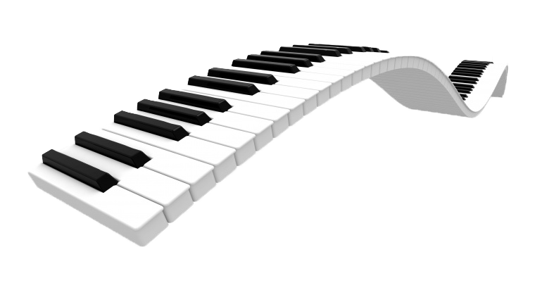 Transparent pianos creative. Electronic keyboard piano musical
