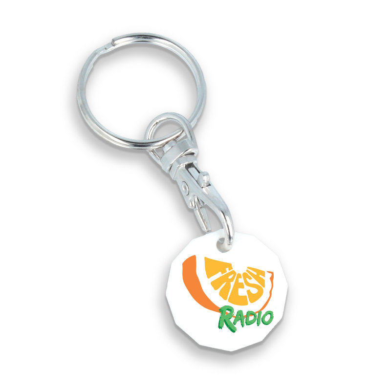 Keyring clip plastic. New trolley coin chx