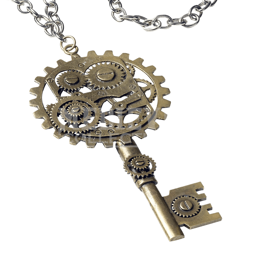 Keys transparent steampunk. Key gear necklace fm