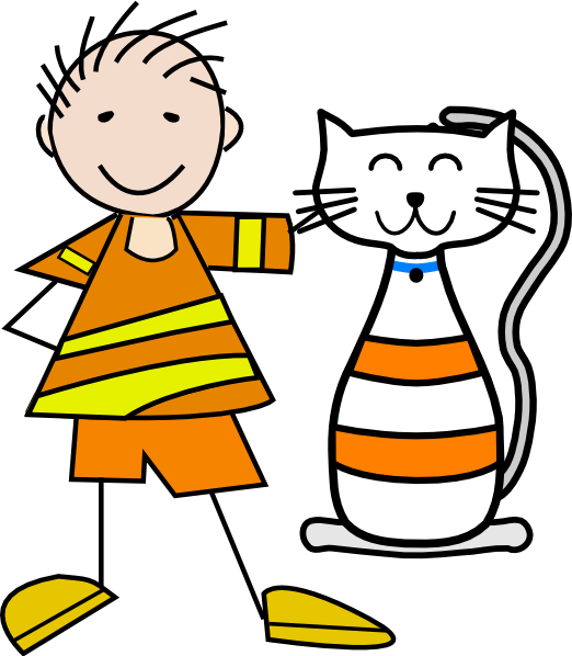 Kid clipart cat. Boy with