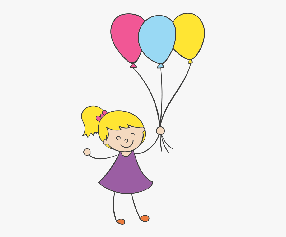 Kid holding a balloon. Cartoon clip art little