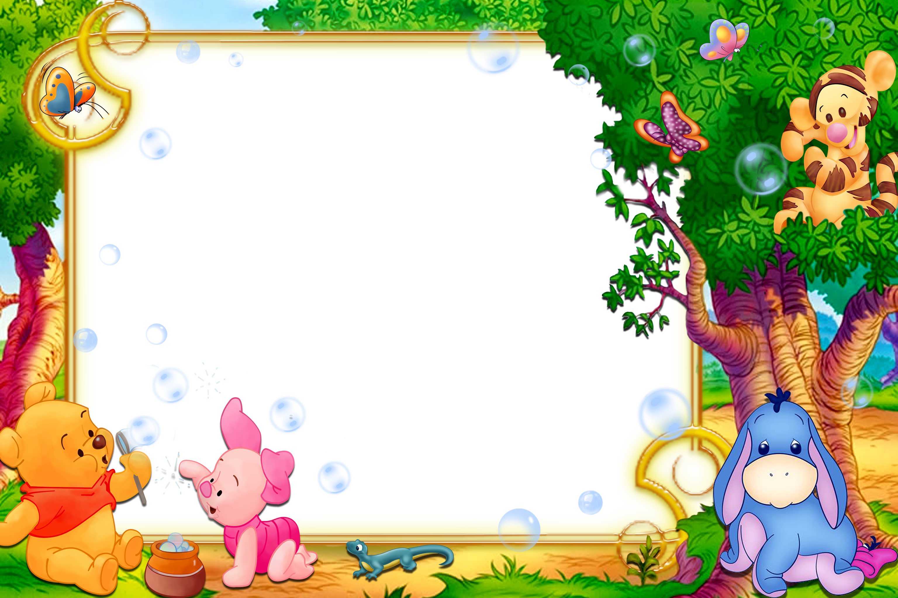 Cartoon frame png. Kids transparent with winnie