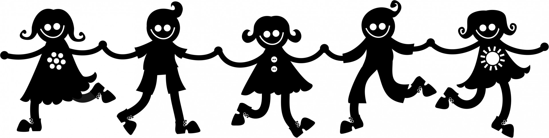Kids clipart silhouette. Holding hands free stock