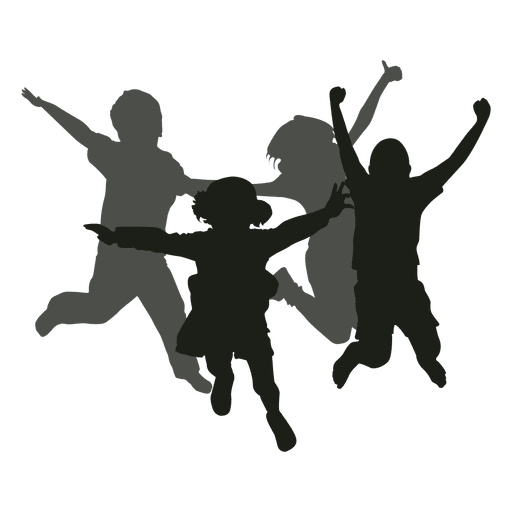 Vector nature kids. Jumping silhouette transparent png