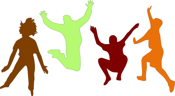 Kids jumping silhouette color png. Fall clip art at