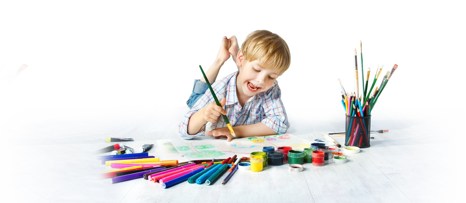 Kids painting png. Bigstock child with color