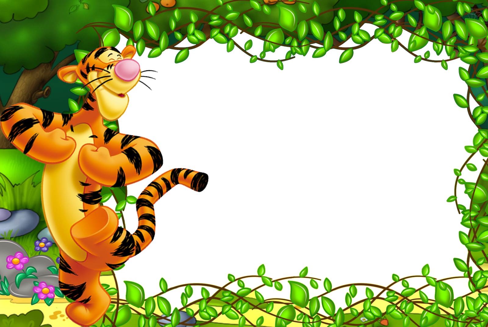 Kids transparent cute. Frame with tigger gallery