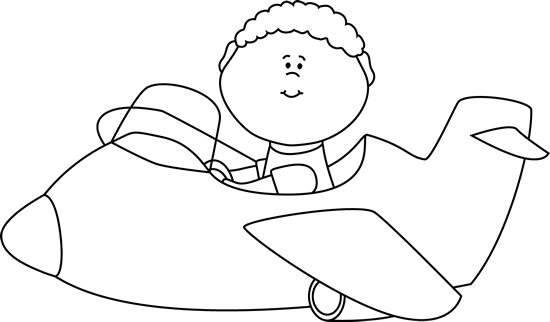 Pilot drawing kid. Black and white flying
