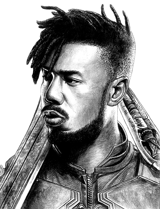 Killmonger drawing poster. Round beach towel for