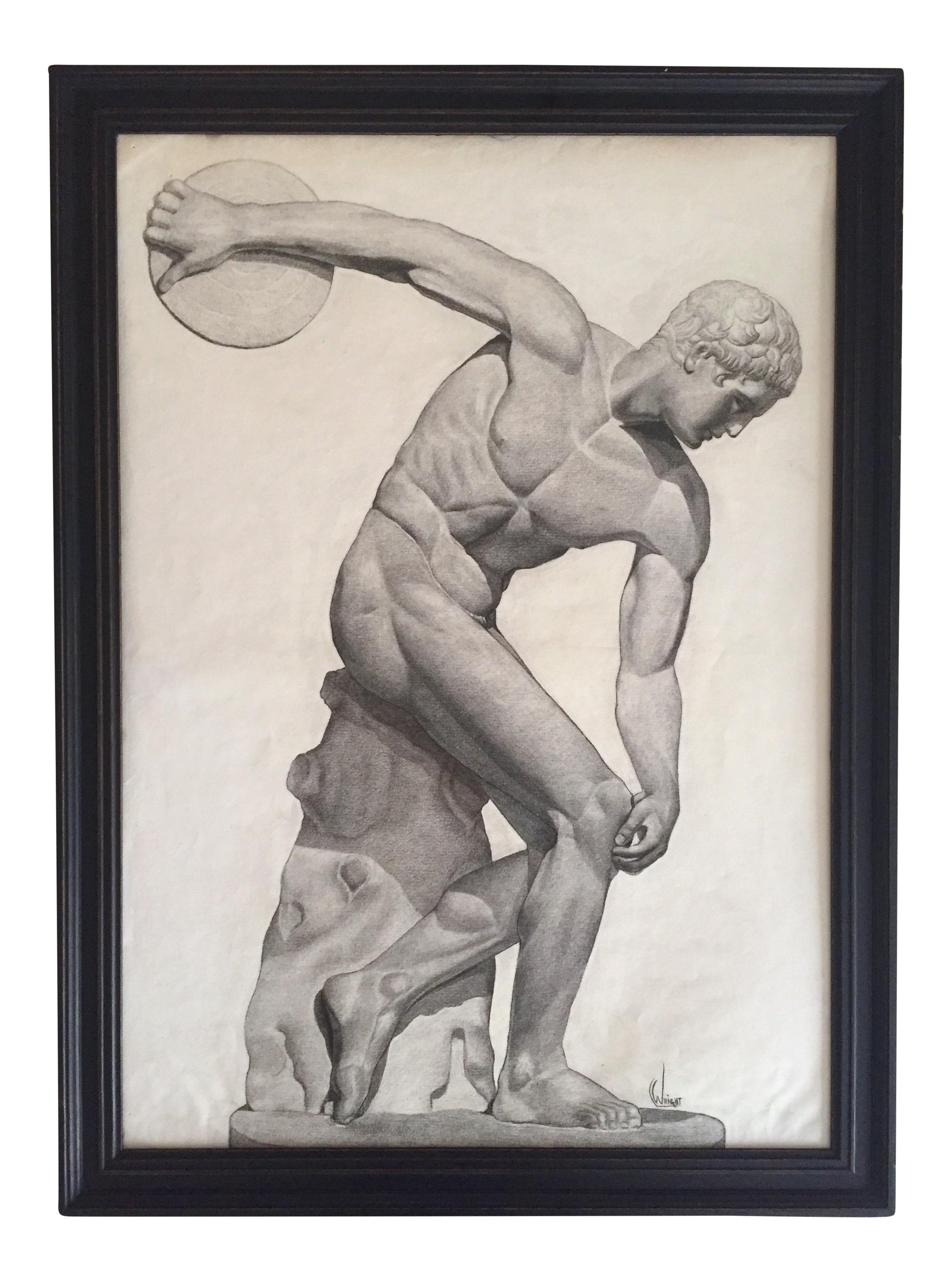 Kinetic drawing charcoal. Vintage s discus thrower