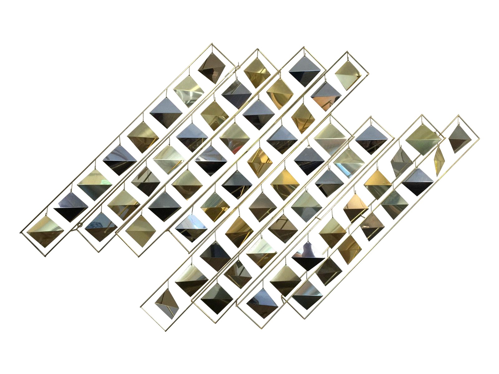 Kinetic drawing installation art. Curtis jere brass wall
