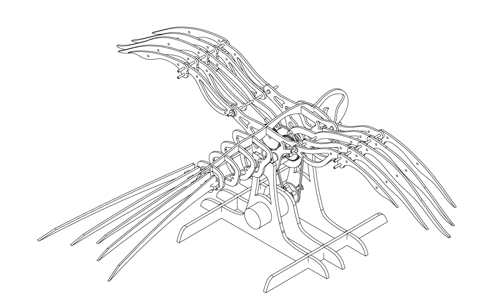 Mechanical bird sculpture craig. Kinetic drawing sketch vector library download