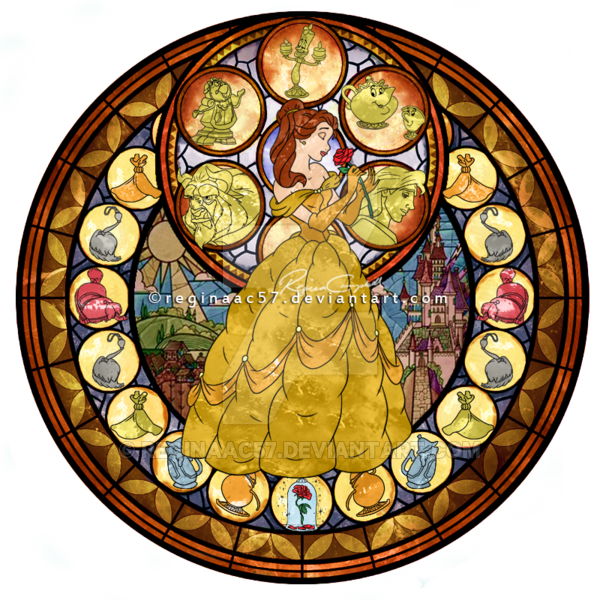 Kingdom hearts stained glass png. Princess belle stain by