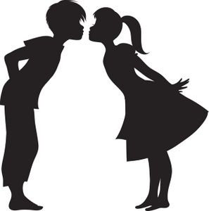 Kiss clipart. First image silhouette of