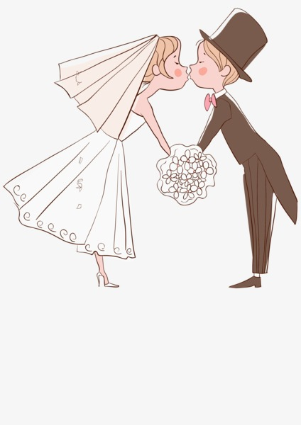 Kiss clipart married. Couple cartoon lovers wedding