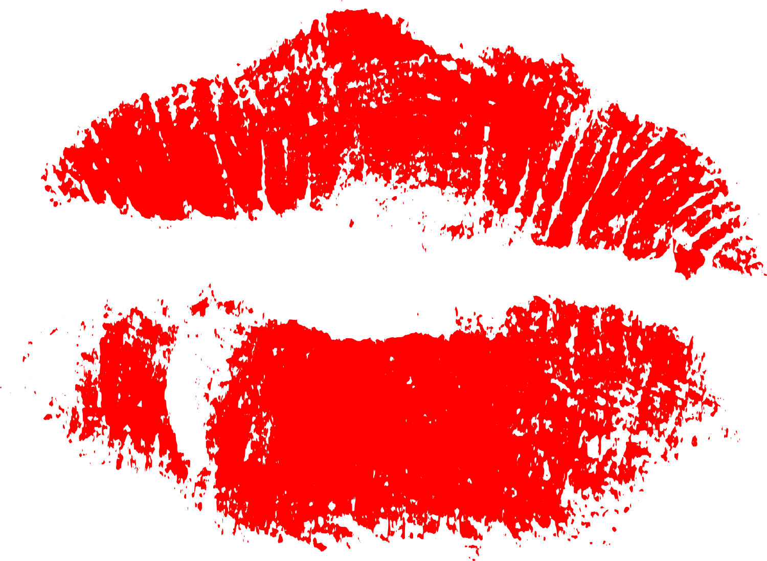 Kiss vector png. Red print of