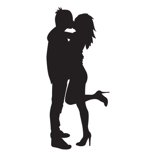 Kissing couple png. Sweet silhouette transparent svg