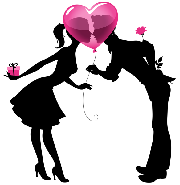 Kissing couple png. Valentine silhouettes with heart