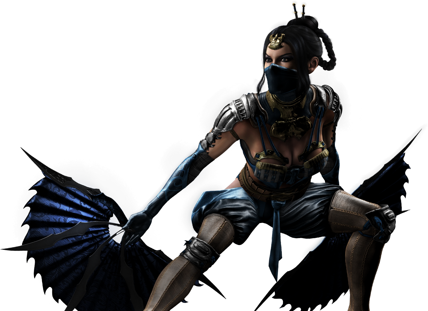 Kitana drawing war fan. Image mkx render not