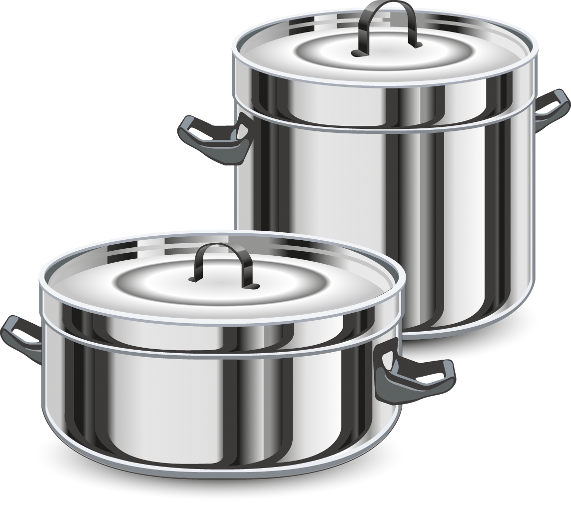 Drawing items metal. Cooking pan kitchen clipart