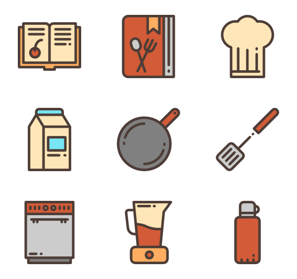 Kitchenware vector modular kitchen. Icons free elements