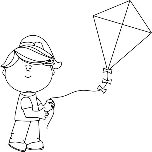 Kite clipart black and white. Girl flying a clip
