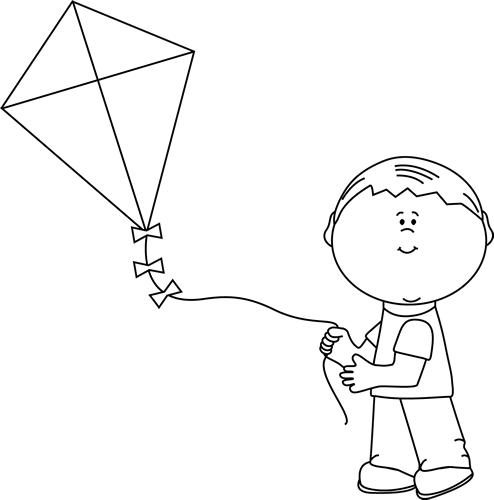 Kite clipart black and white. Boy flying a clip