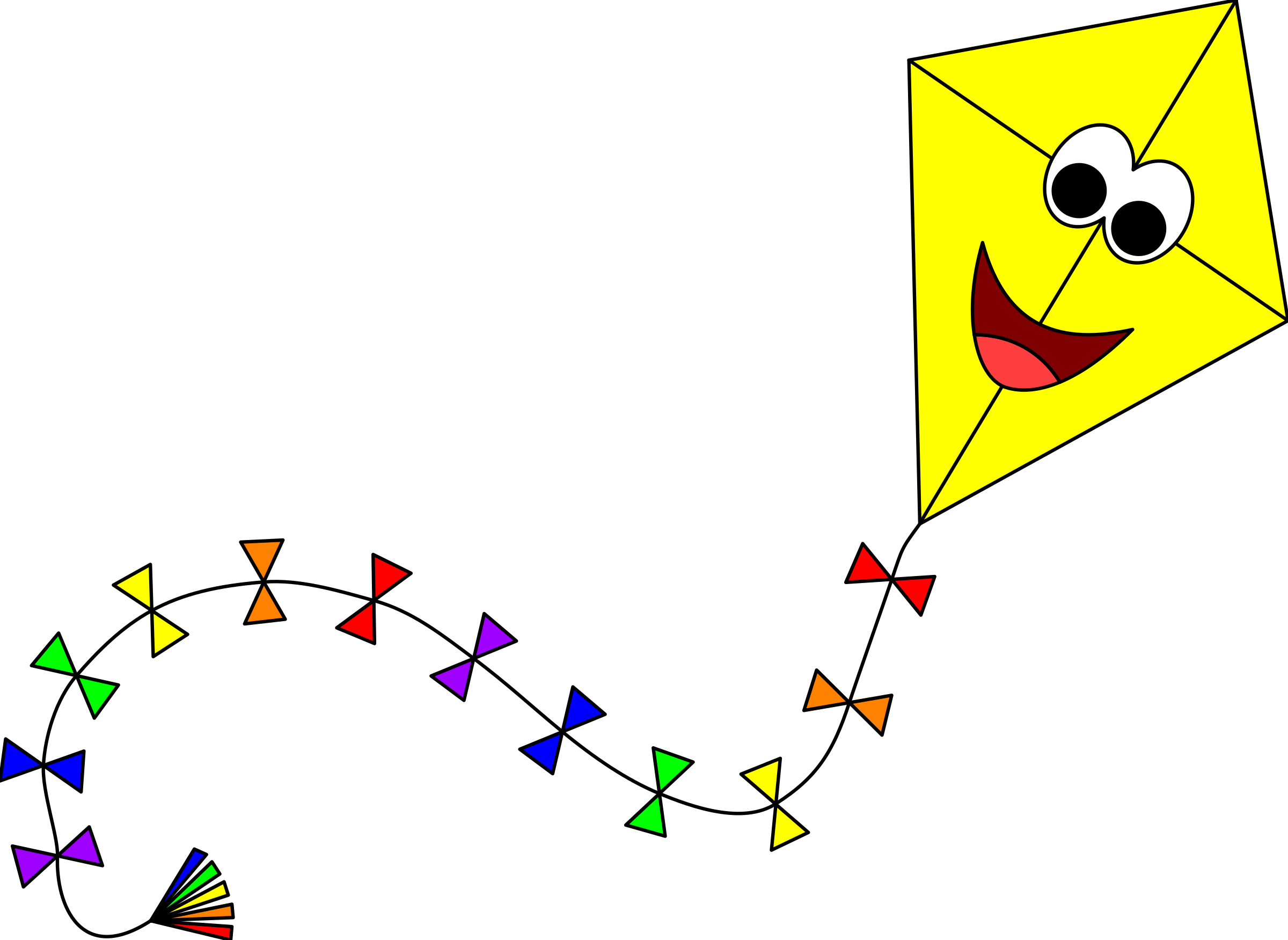 Kite with face icons. 3 clipart yellow clip black and white library