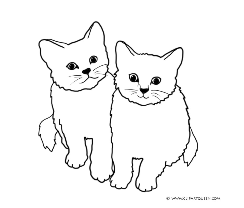 Kittens clipart cat drawing. Kitten coloring page pencil