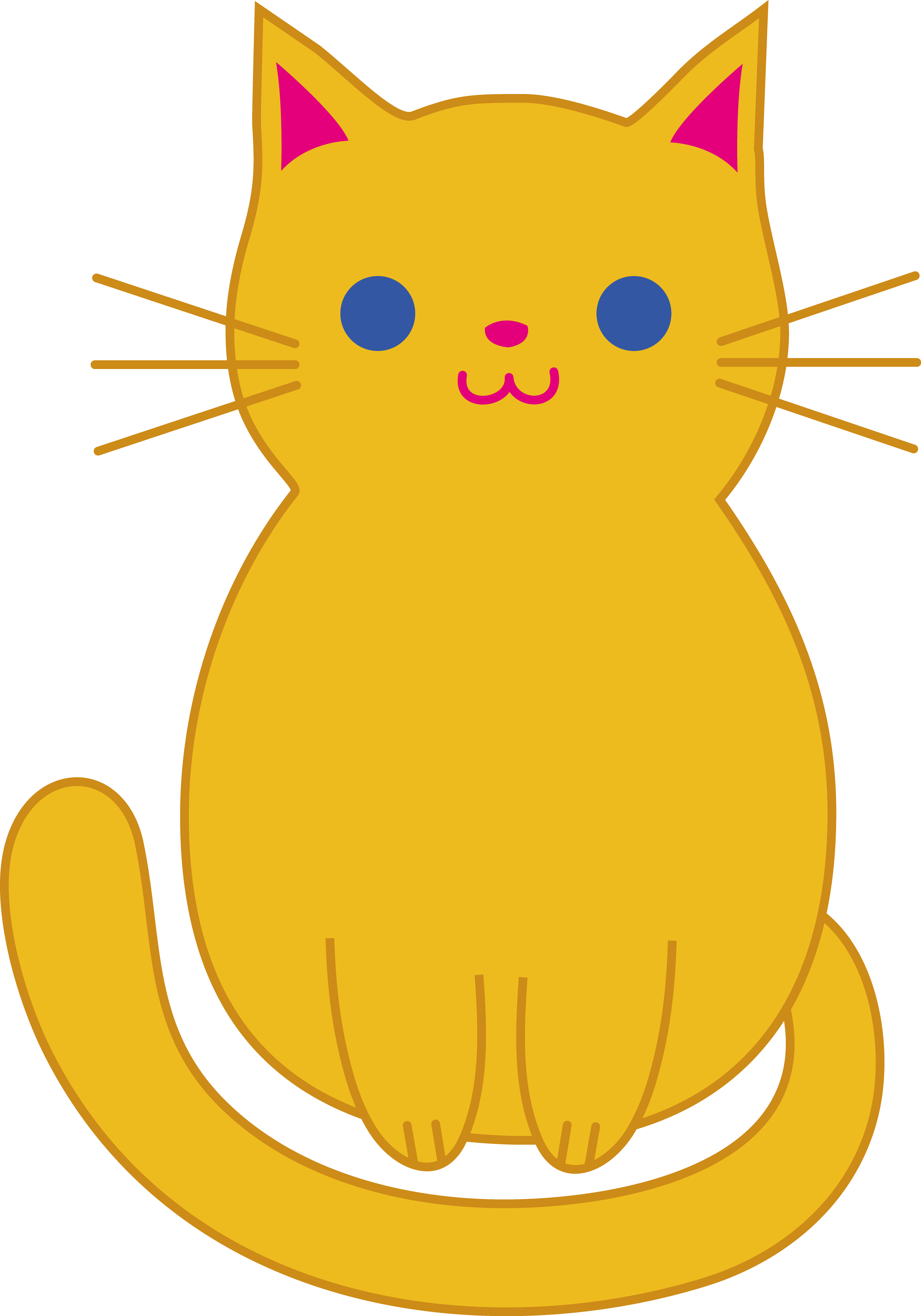 Kitten clipart simple cat. Pencil and in color