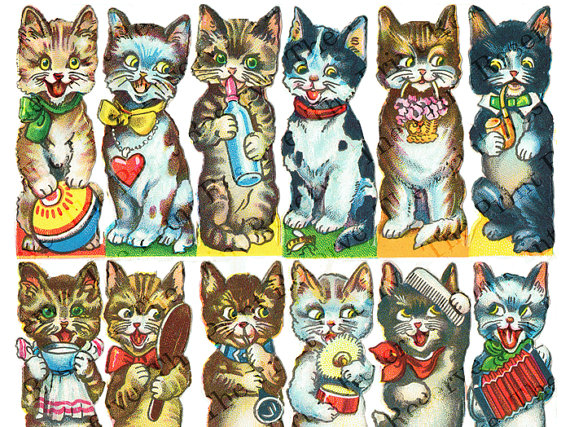 Kitty clipart vintage. Digital cats kittens cat