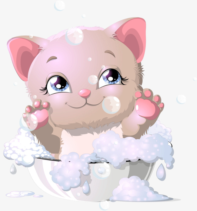 Kittens clipart pink cat. Cartoon kitten bathing s
