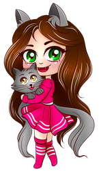 Kittens transparent chibi. Cute cat girl with