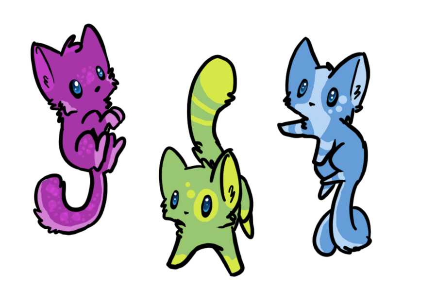 Kittens transparent chibi. Cats adoptables closed by
