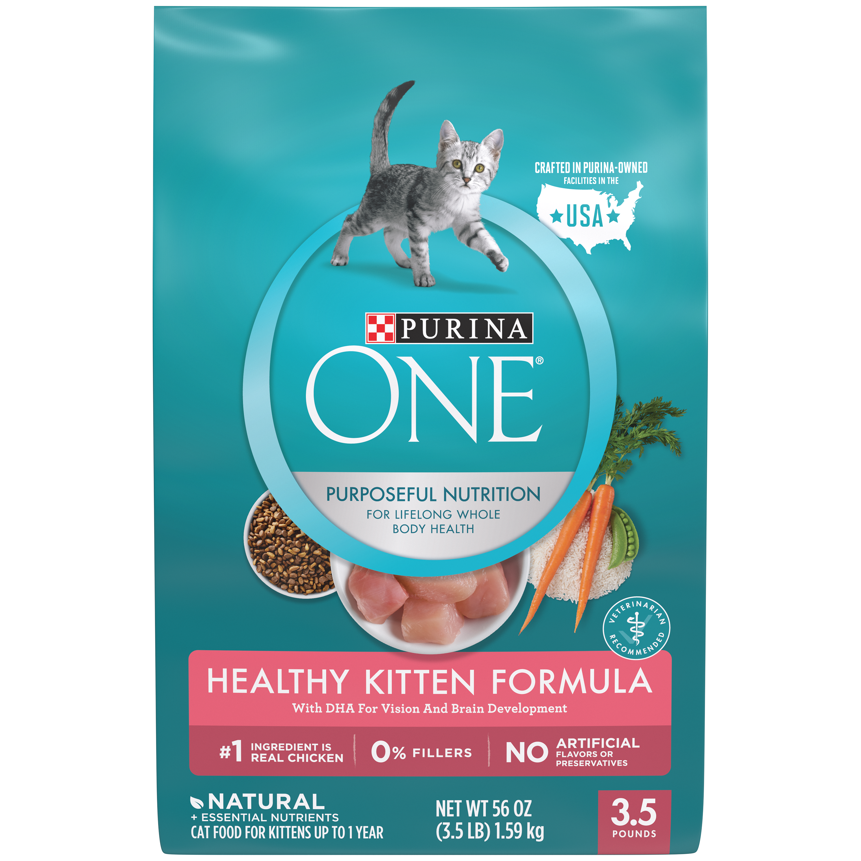 Kittens transparent food. Purina one healthy kitten