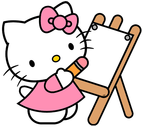 Kitty clipart. Hello clip art cartoon