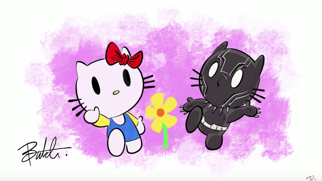 Kitty clipart black panther. In the style of