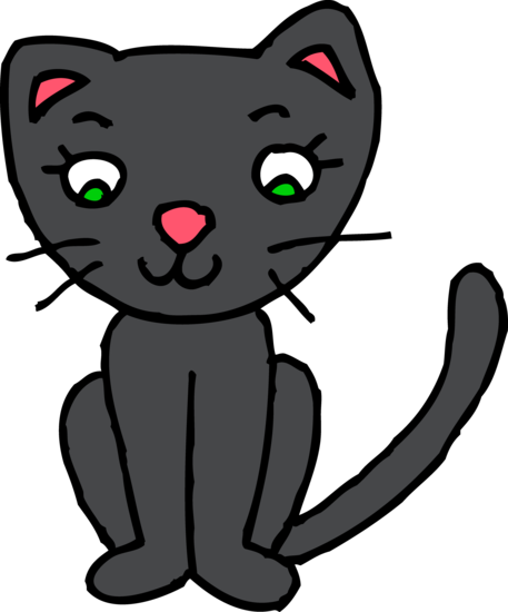 Kitty clipart middle. Cute black cat free