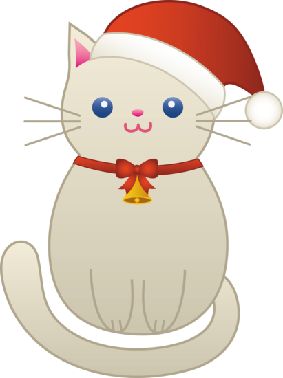 Kitty clipart middle. Christmas cat free clip