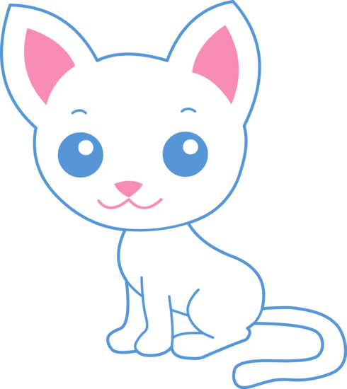 Kitty clipart middle. Cute white cat free