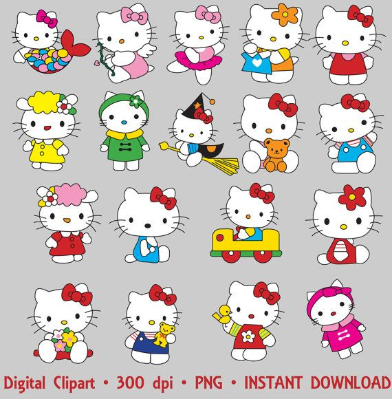 Kitty clipart printable. Hello party digital images