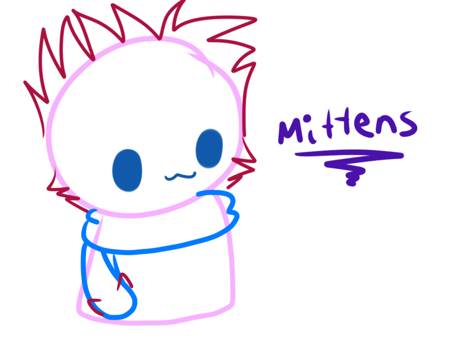 Kitty transparent blob. Mittens the scarf by