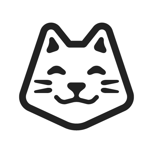 Kitty transparent logo. Happy cat one color