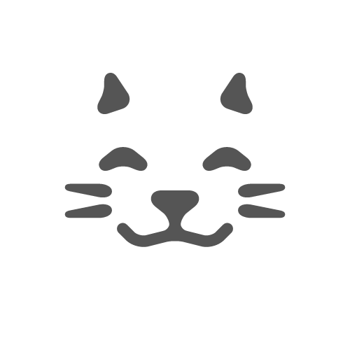 Kitty transparent logo. Happy cat features only