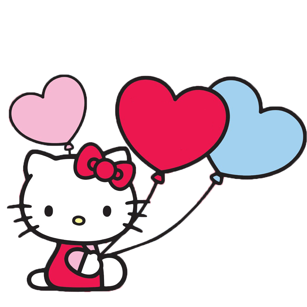 Kitty transparent pink. Hello with balloons png