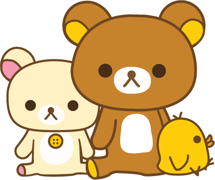 Kitty transparent rilakkuma. A brown bear who