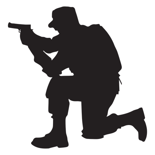 Kneeling soldier png. Kneel aiming silhouette transparent