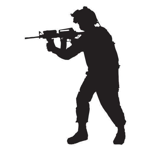 Soldier svg. Pointing rifle silhouette transparent