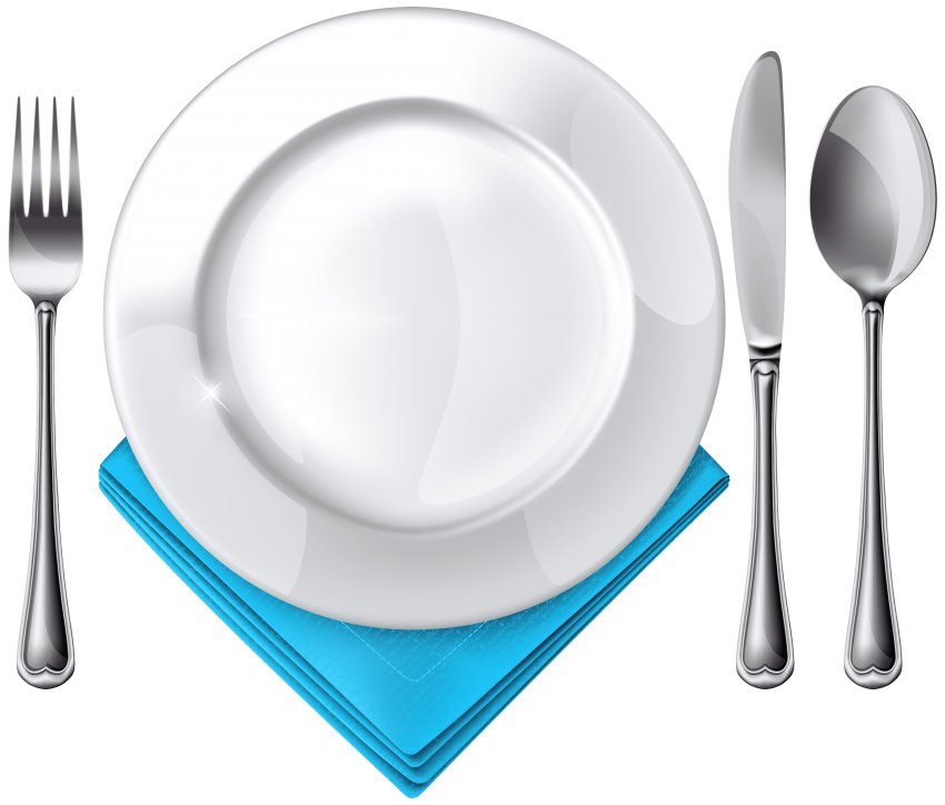 Napkin vector plate fork spoon. Knife and blue png