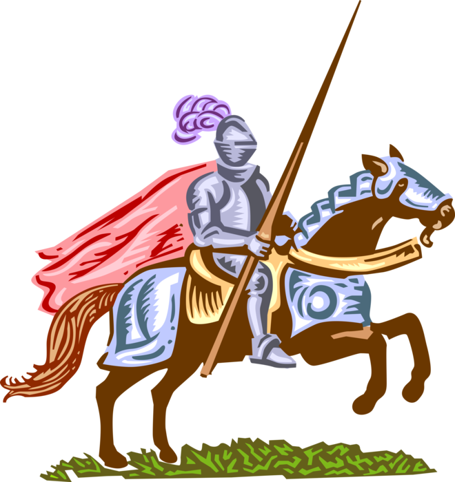 Armor vector knight. Medieval with jousting lance